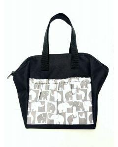 6 Pocket Lucky Elephants Black Zipper Bag