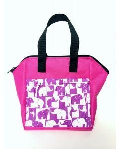 6 Pocket Lucky Elephants Hot Pink Zipper Bag