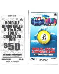 Bingo Sealed Event Tickets- Ocean Balls- Pack of 75 Tickets