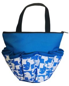 10 Pocket Blue Elephants Zipper Bag