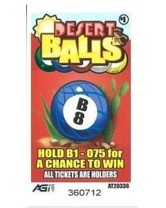 Bingo Sealed Event Tickets- Desert Balls- Pack Of 75 Tickets