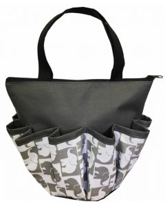 10 Pocket Gray Elephants Zipper Bag