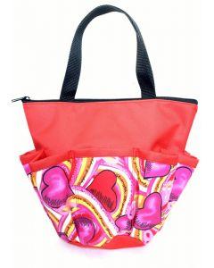 10 Pocket Cancer Awareness Hearts and Ribbons Zipper Bag