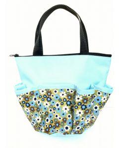 10 Pocket Blue and White Flowers Zipper Bingo Bag