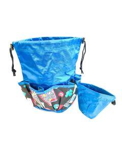 10 Pocket Lucky Bingo Blue Drawstring Bag With Coin Purse
