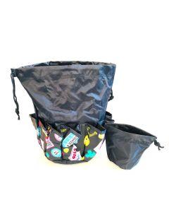 10 Pocket Lucky Bingo Black Drawstring Bag With Coin Purse