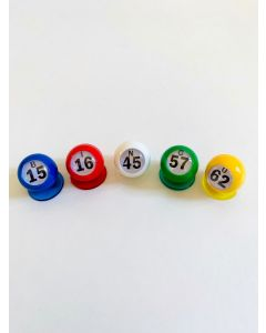 Bingo Waiters- Bingo Balls- Set of 5- B-I-N-G-O- Random Numbers- Five Colors
