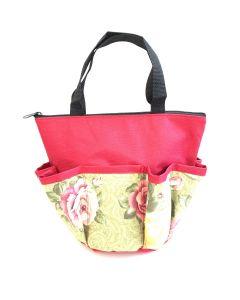 10 Pocket Blooming Flowers Red Zipper Bag