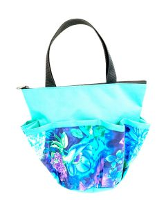10 Pocket Blue Flowers- Aqua Zipper Bag