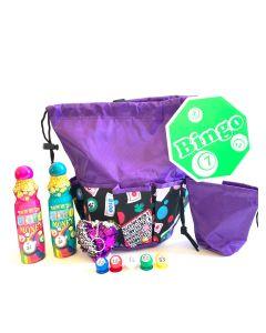 Bingo Bag Gift Set- Purple Lucky Bingo Drawstring Bag