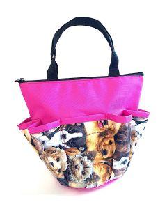 10 Pocket Puppies Magenta Zipper Bag