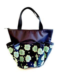 10 Pocket Lucky Four Leaf Clover- Black Zipper Bingo Bag