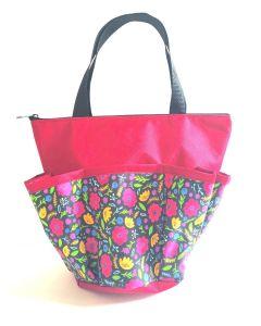 10 Pocket Blooming Flowers- Red Zipper Bag