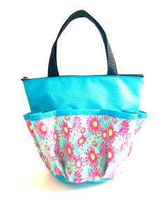 10 Pocket Pink Flowers- Aqua Zipper Bag