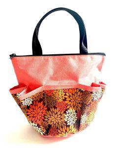 10 Pocket Autumn Flowers- Burnt Orange Zipper Bag