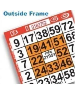 1 on Orange Outside Frame Pattern Bingo Paper Sheet- Pack of 500