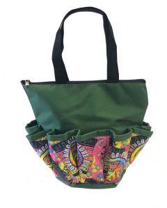 10 Pocket Zipper Peace Love Bingo Green Bag