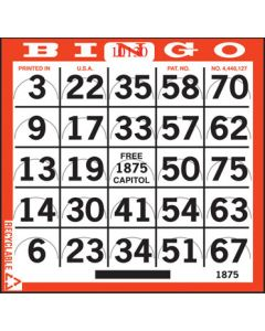 1 on Bingo Pushout Paper- 250 Cards Per Pack