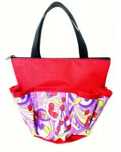 10 Pocket Purple Flowers and Cherries Zipper Bag