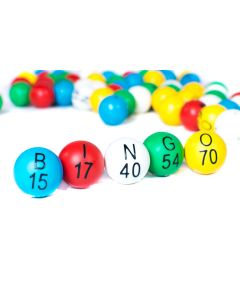 "EZ Read 7/8"" Plastic 5 Color Bingo Ball Set"